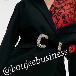 ZARA Velvet Belt with Bejeweled Buckle